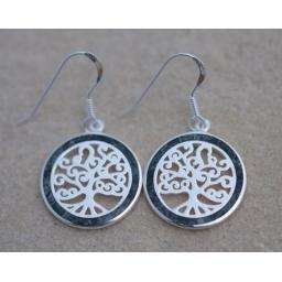 PRESELI BLUESTONE CIRCLE TREE OF LIFE EARRINGS