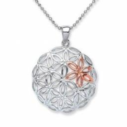 Rhodium Plated/Rose Gold Plated Silver Pendant Round