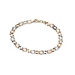 Gold Triple Colour Flat Link Bracelet