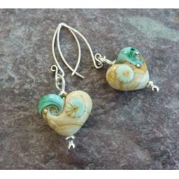 Sand and Sea Heart Earrings