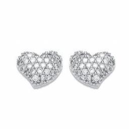 Silver Earrings CZ Heart Studs