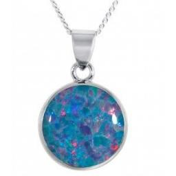 Silver Multi-Coloured Created Opal Necklace