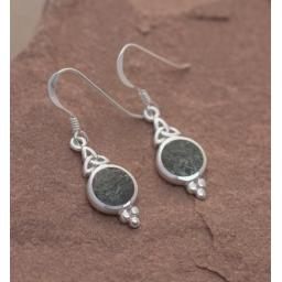 PRESELI BLUESTONE TRIQUETRA EARRINGS, MIND, BODY AND SPIRIT