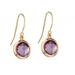 Gold Amethyst Bezel Set Earrings
