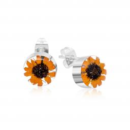 Sunflower Round Stud Earrings